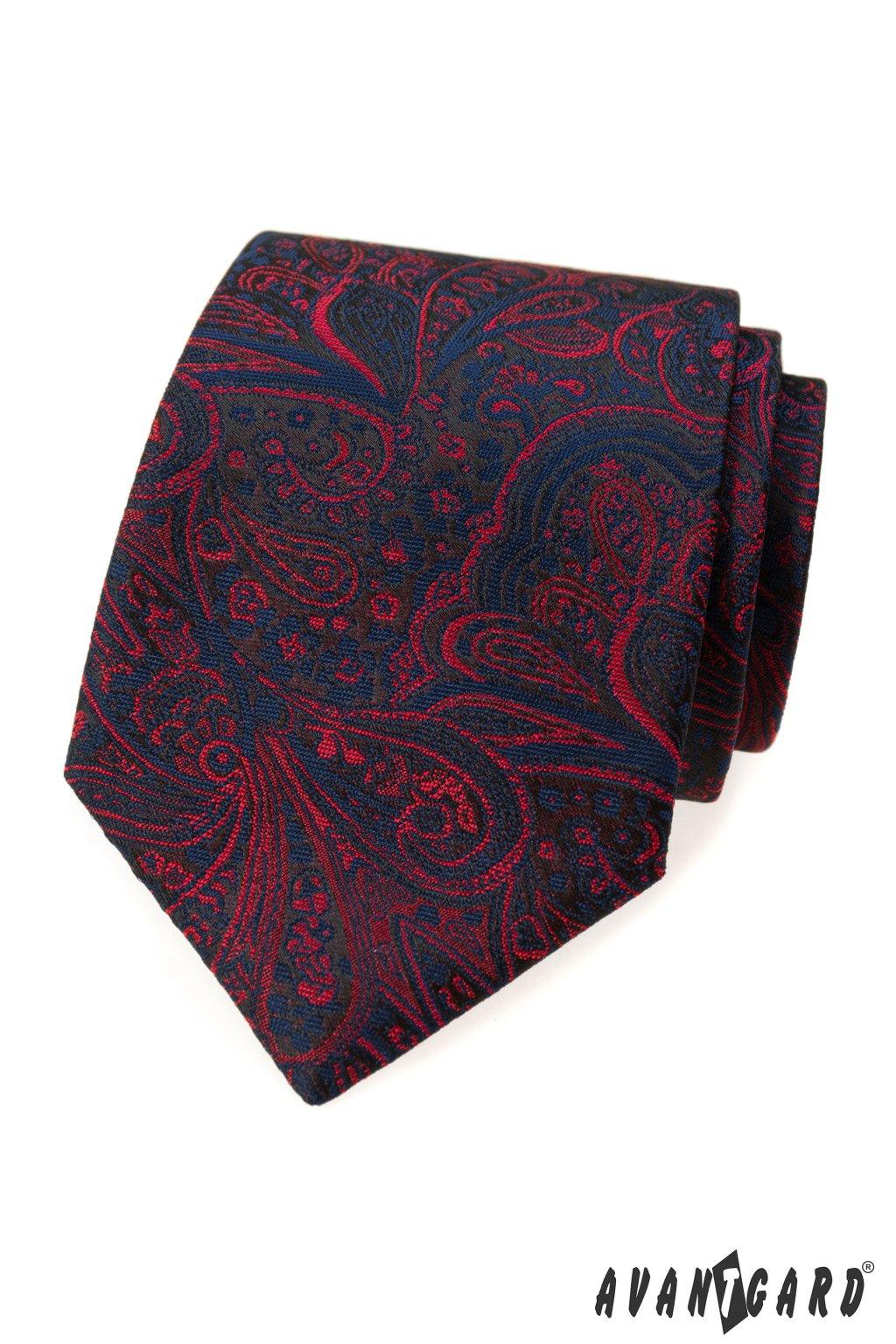 Modrá luxusní kravata červené ornamenty 561 - 62402