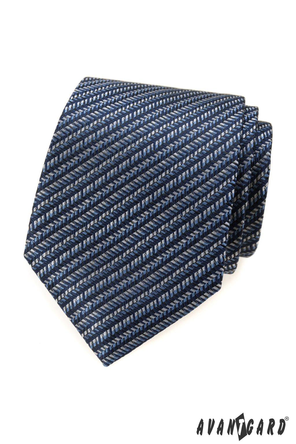 Modrá luxusní kravata zip 561 - 62404