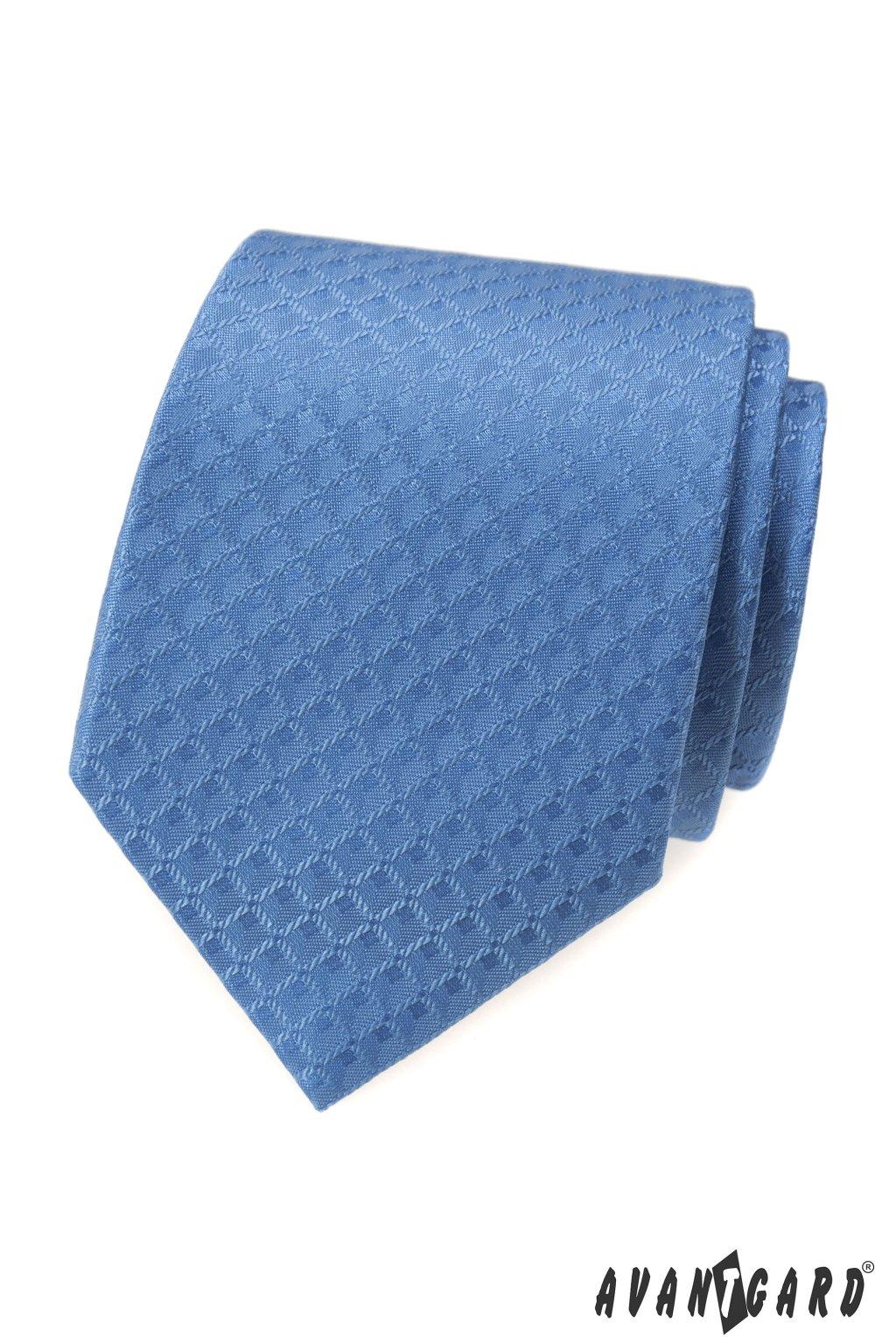 Modrá luxusní kravata světlý čtvercový vzorek 561 - 62410