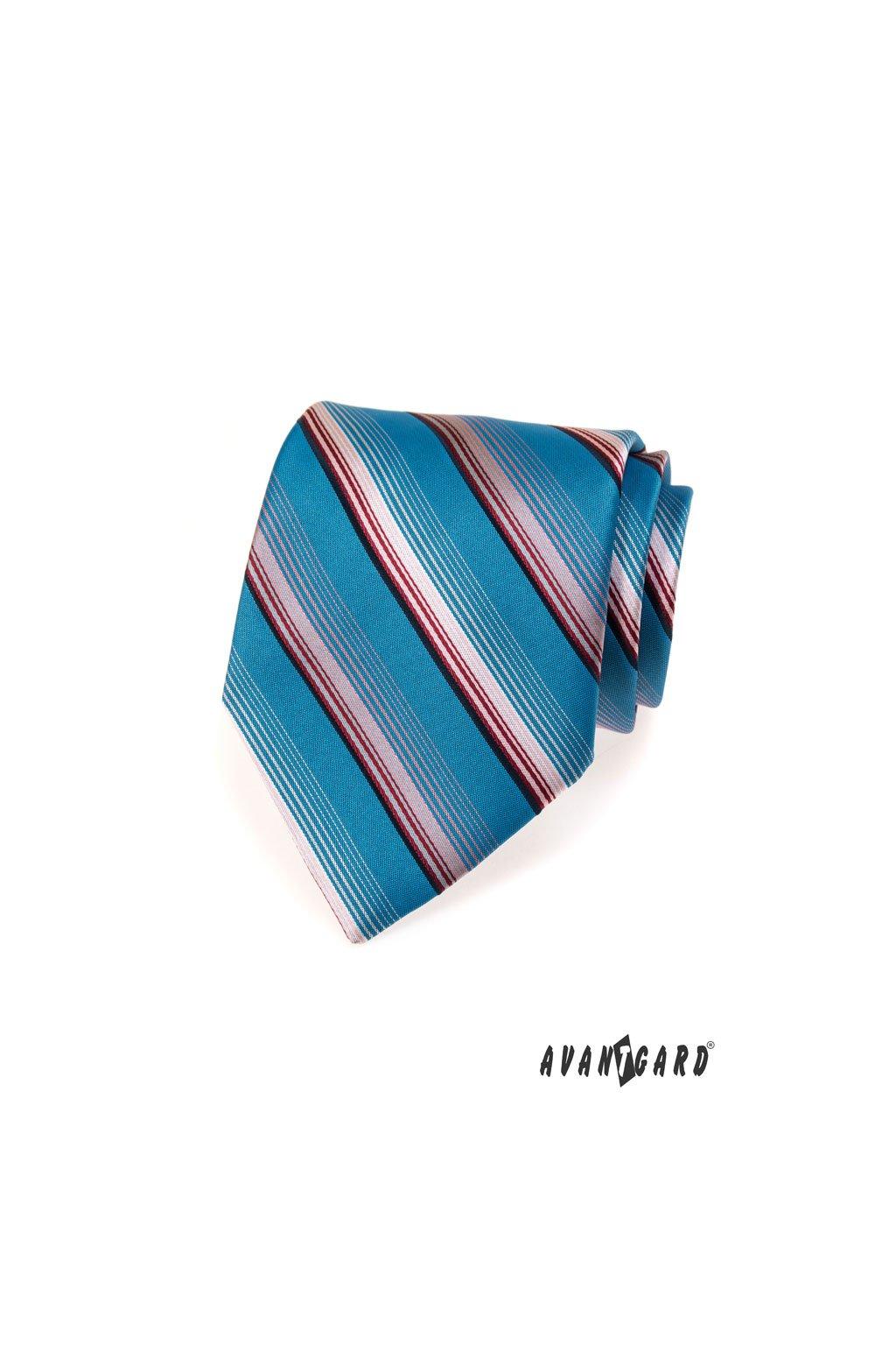 Modrá luxusní kravata proužky 561 - 70204