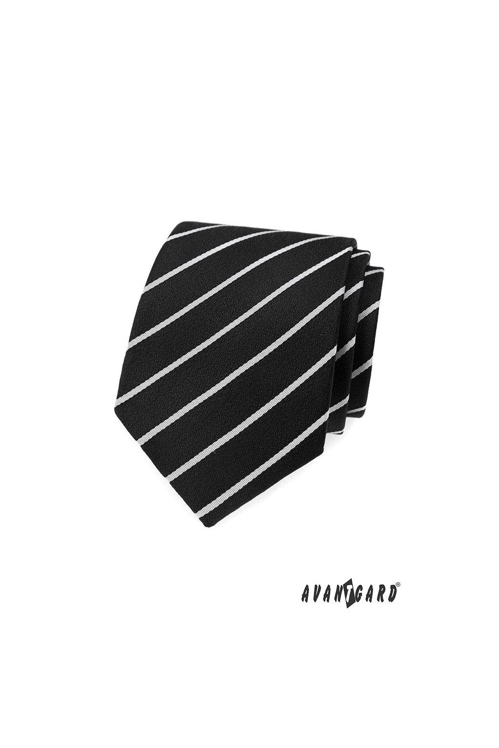 Černá luxusní kravata s bílým proužkem 561 - 81106