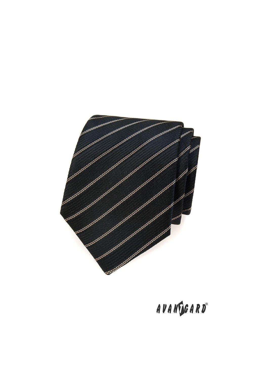 Hnědá luxusní kravata s proužkem 561 - 81126