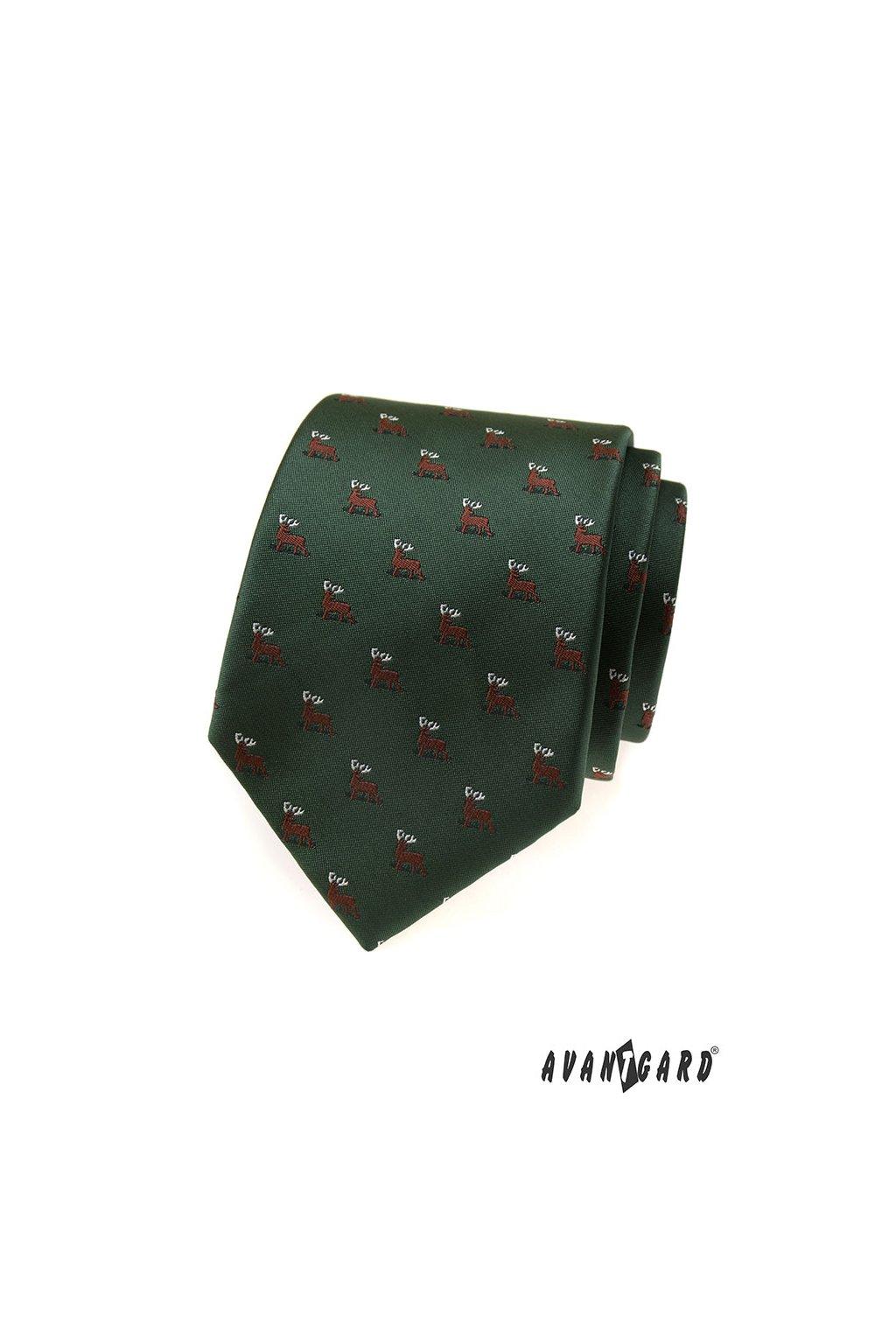 Zelená luxusní kravata s jelenem 561 - 81178