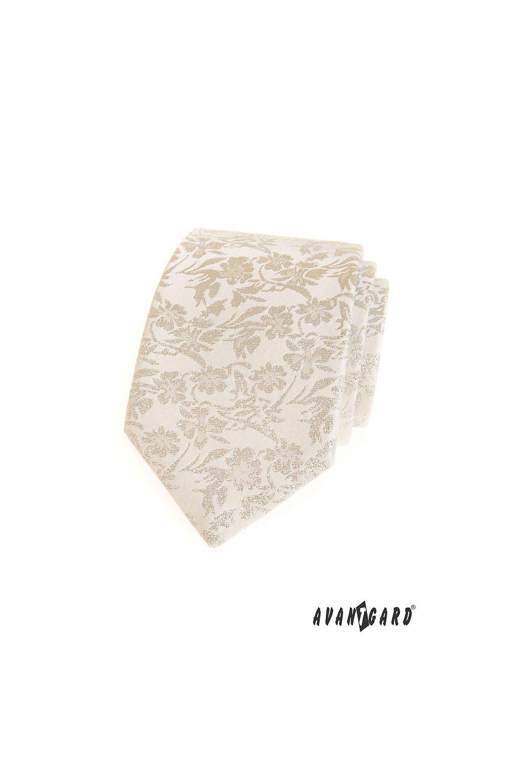Smetanová kravata výrazný vzorek 561 - 81180