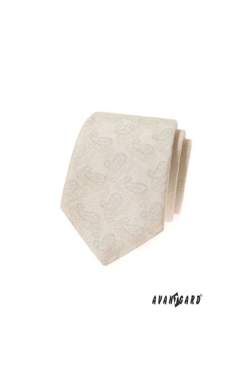 Smetanová luxusní kravata ornamenty 561 - 81181