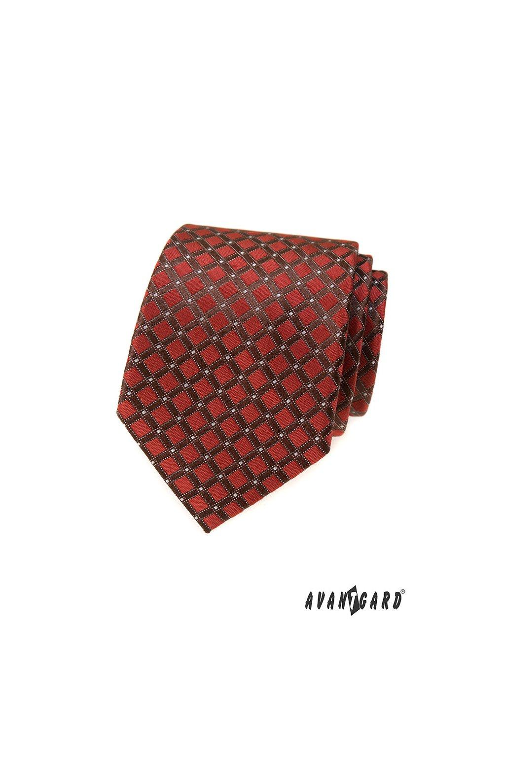 Hnědá skořicová luxusní kravata se vzorkem 561 - 81328