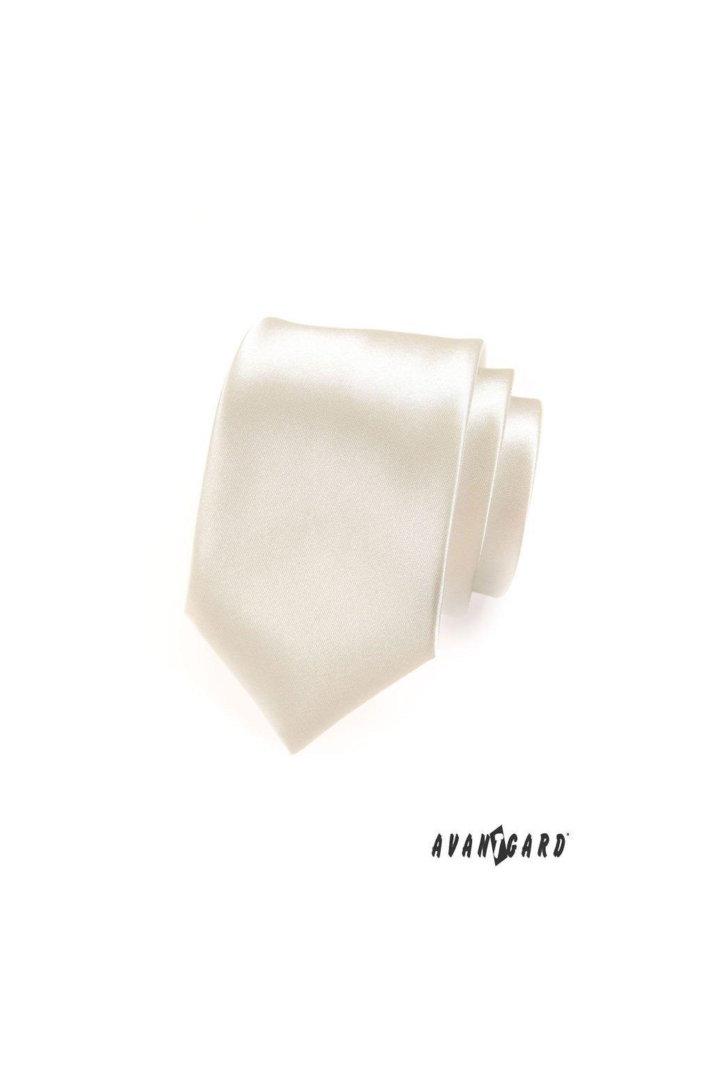 Smetanová luxusní kravata lesklá 561 - 9008