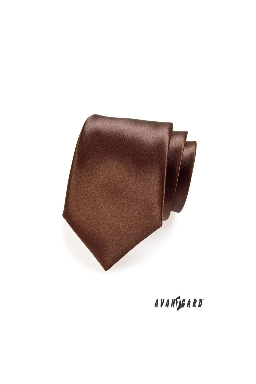 Hnědá luxusní kravata lesklá 561 - 9018
