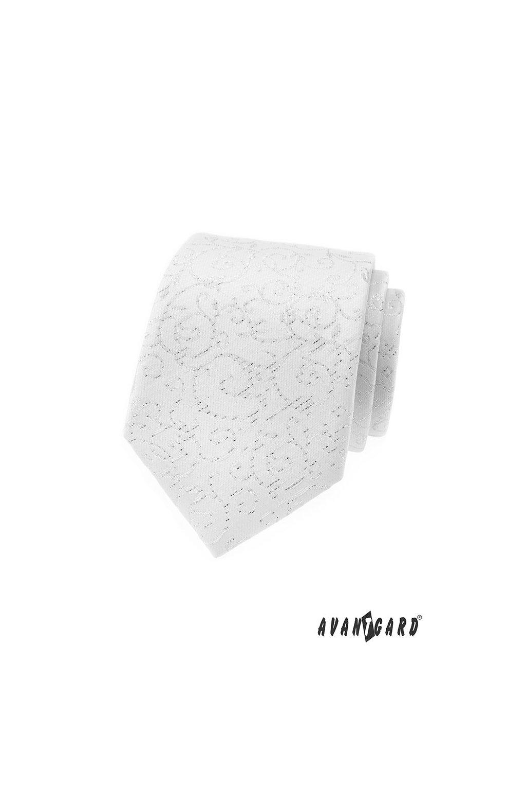 Pánská luxusní  kravata bílá se slavnostním vzorem 561 - 9350