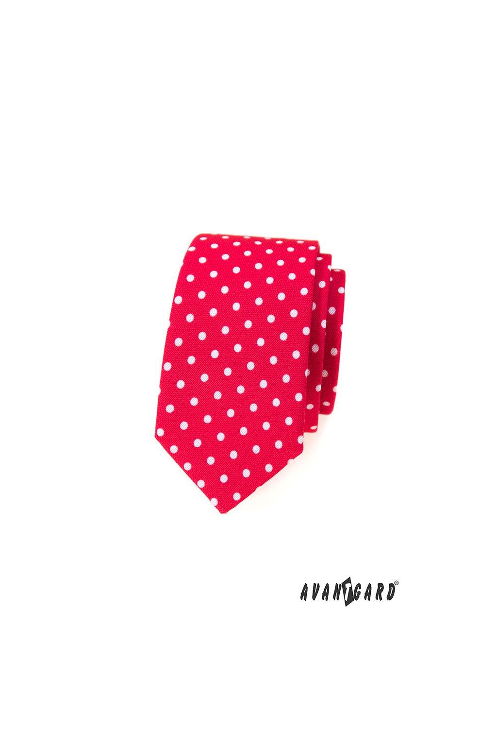 Kravata SLIM AVANTGARD LUX červená s bílými puntíky 571 - 1979