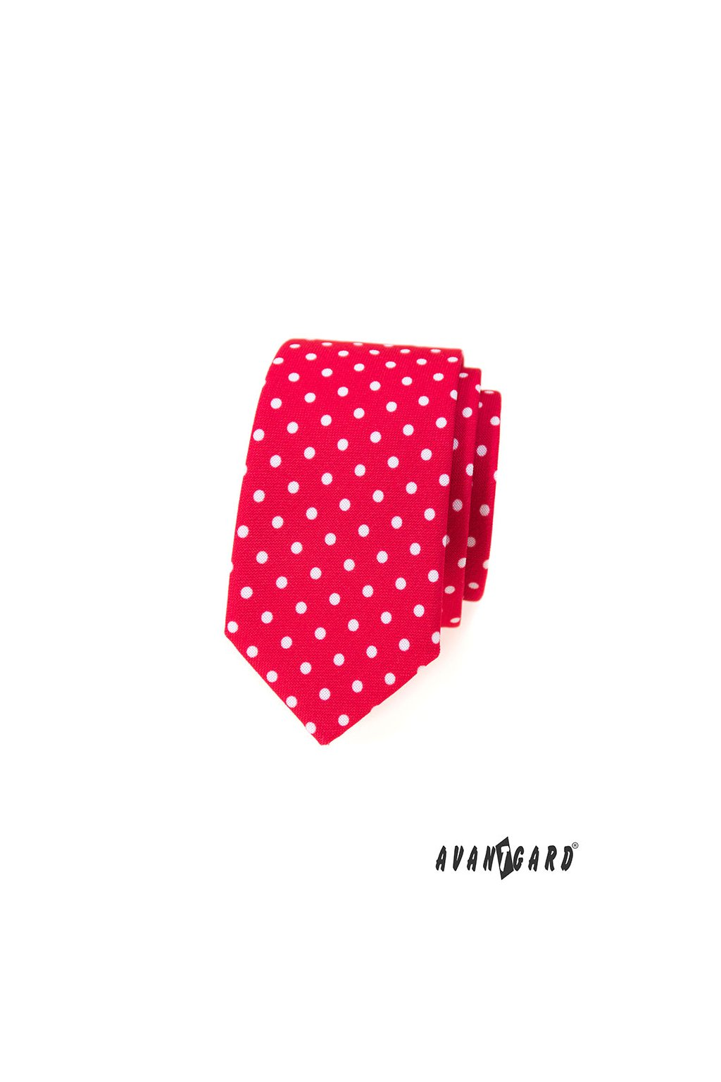 Kravata SLIM LUX červená s bílými puntíky 571 - 1979