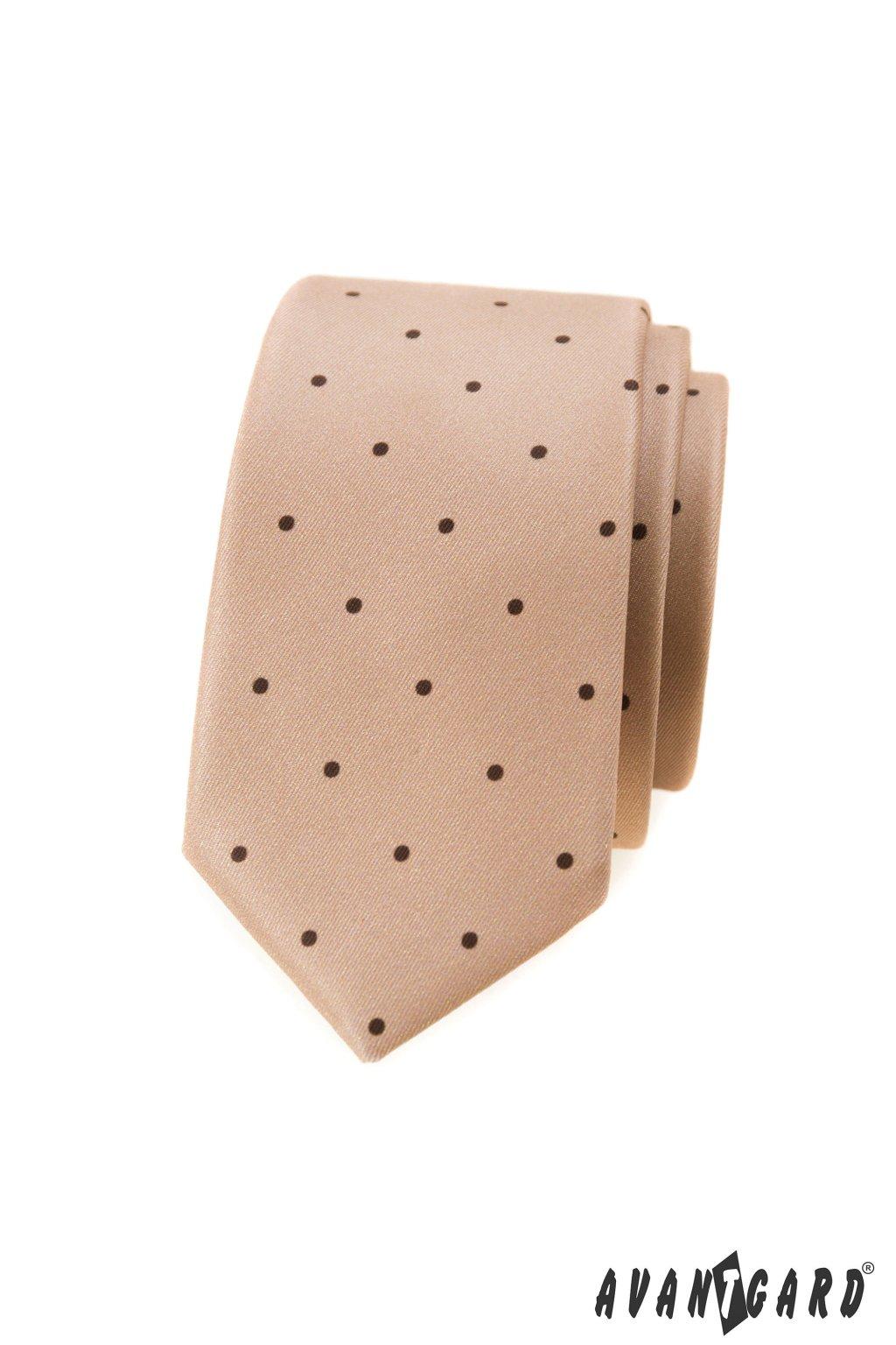 Béžová luxusní úzká kravata  571 - 1986