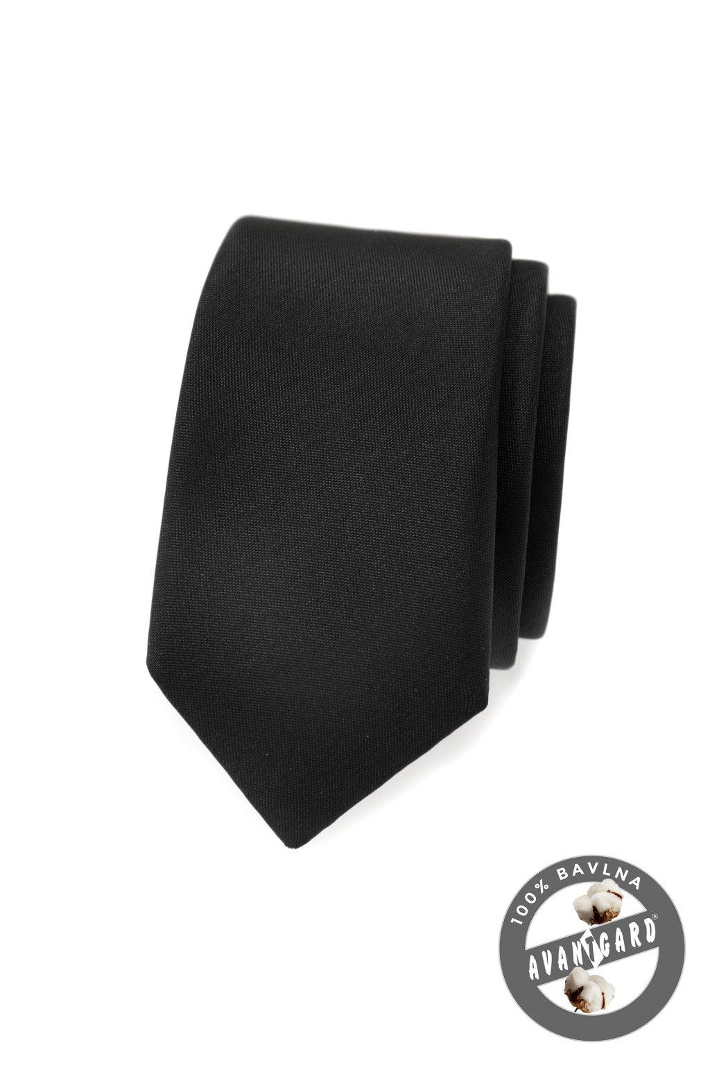 Kravata SLIM LUX černá mat 571 - 23