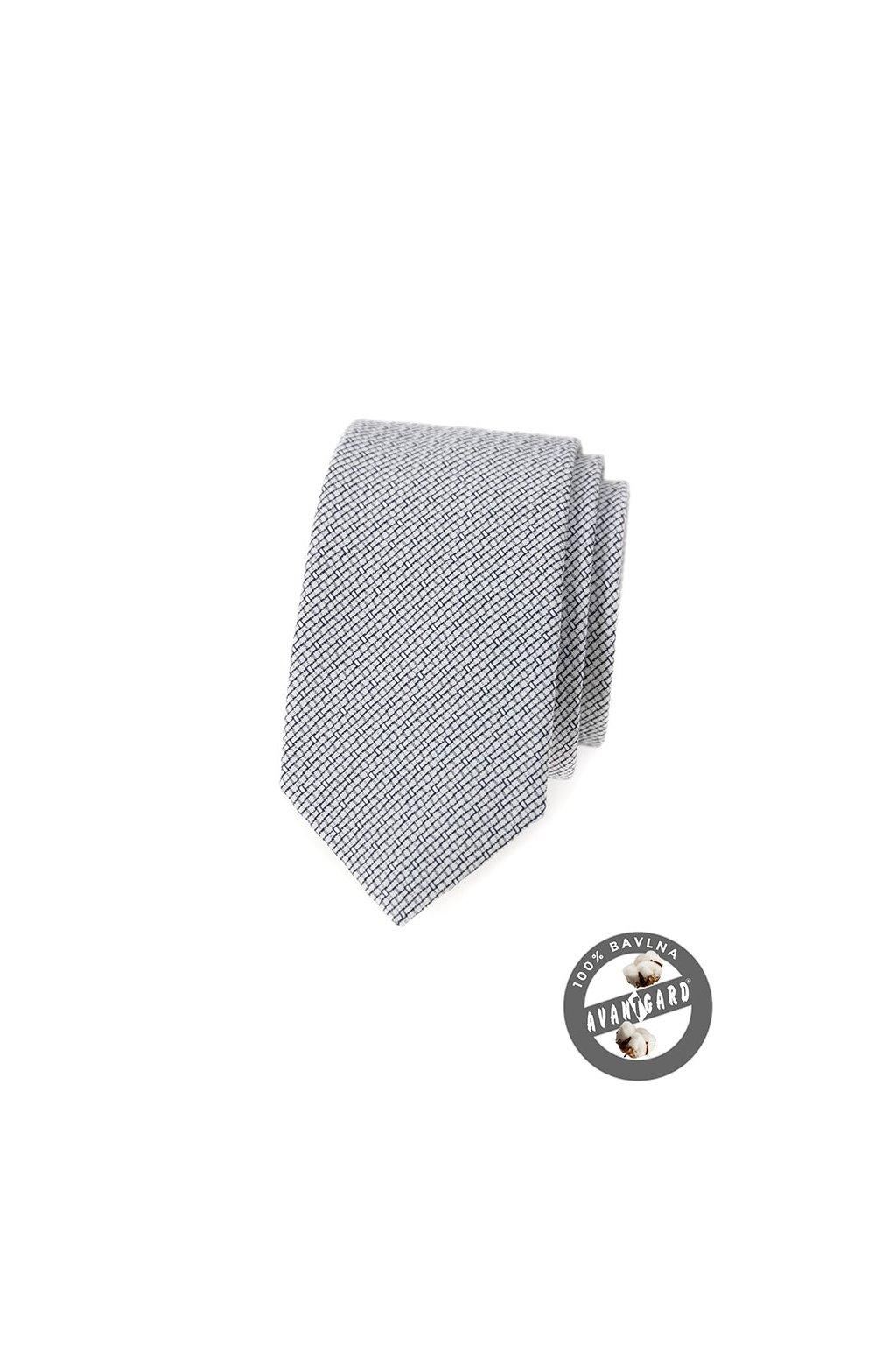 Pánská úzká luxusní kravata SLIM bavlněná černobílá 571 - 51002