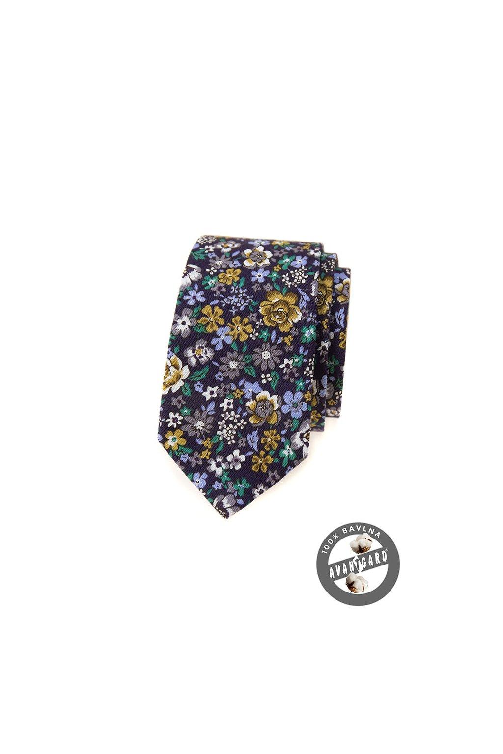 Květovaná fialová luxusní úzká kravata  571 - 51014