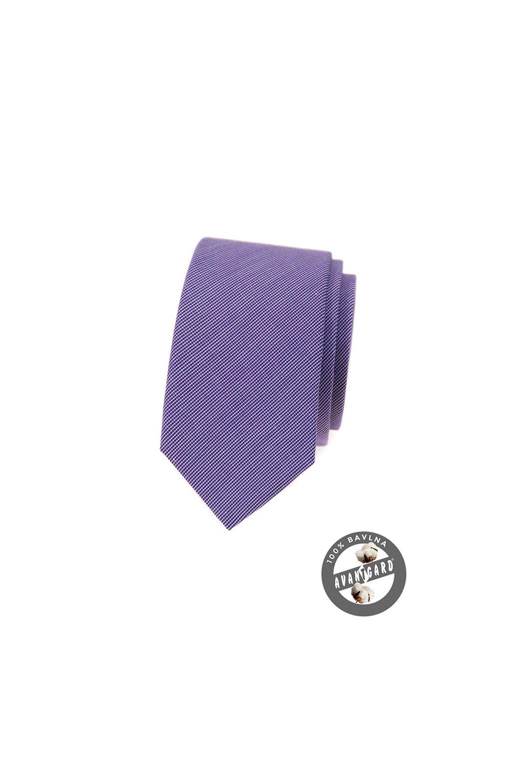 Fialová bavlněná luxusní SLIM kravata  571 - 51016