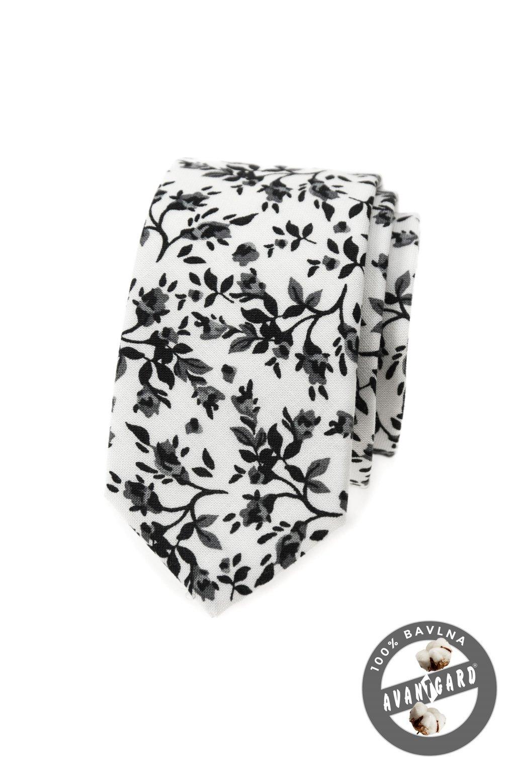 Kravata SLIM LUX bílá/černá 571 - 51029