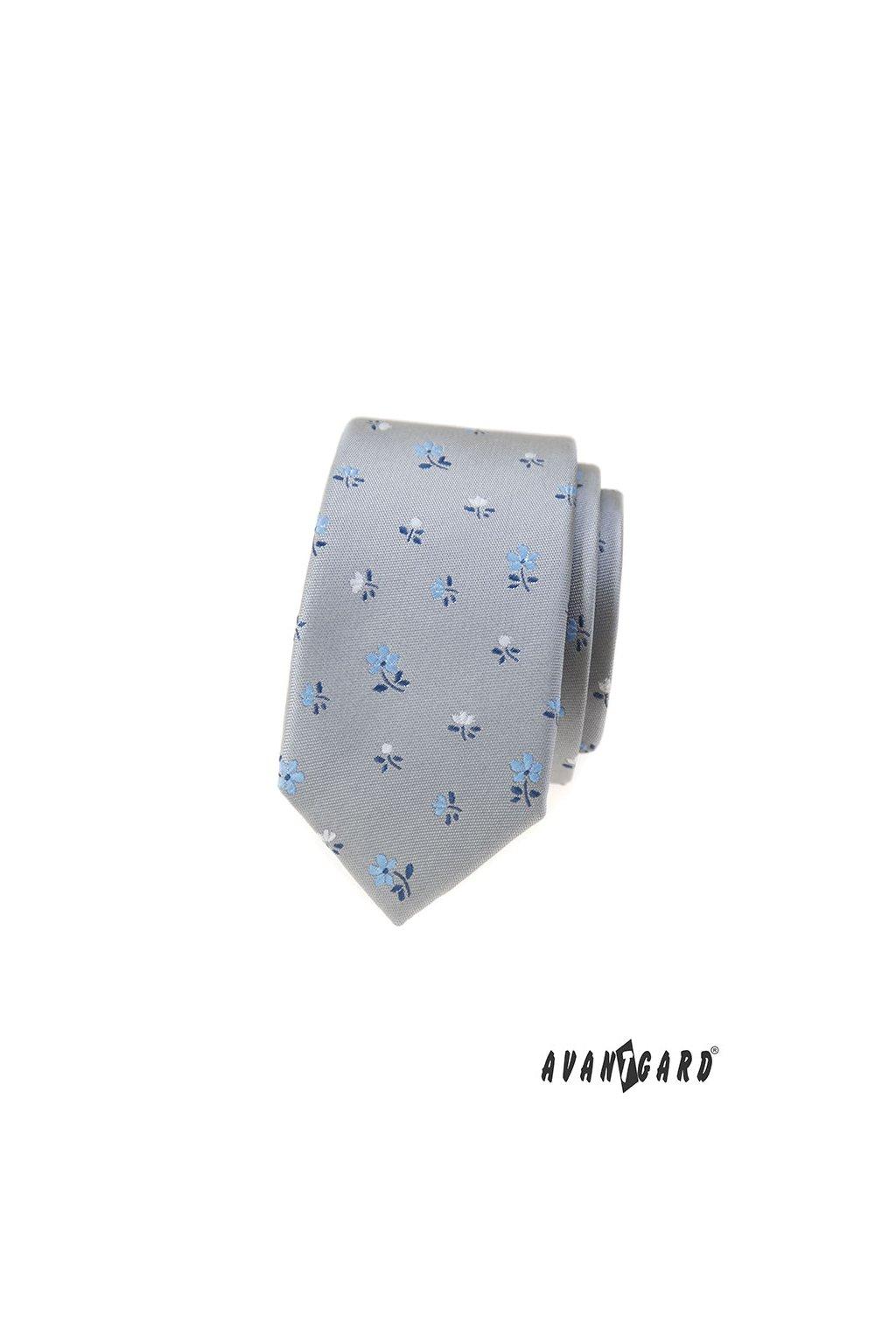 Kravata SLIM LUX šedá 571 - 62351