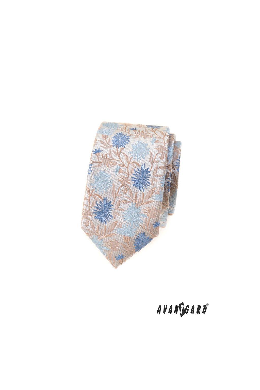 Béžová luxusní SLIM kravata 571 - 62353