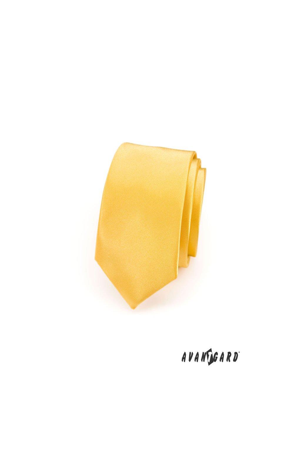Kravata SLIM AVANTGARD LUX žlutá 571 - 9027