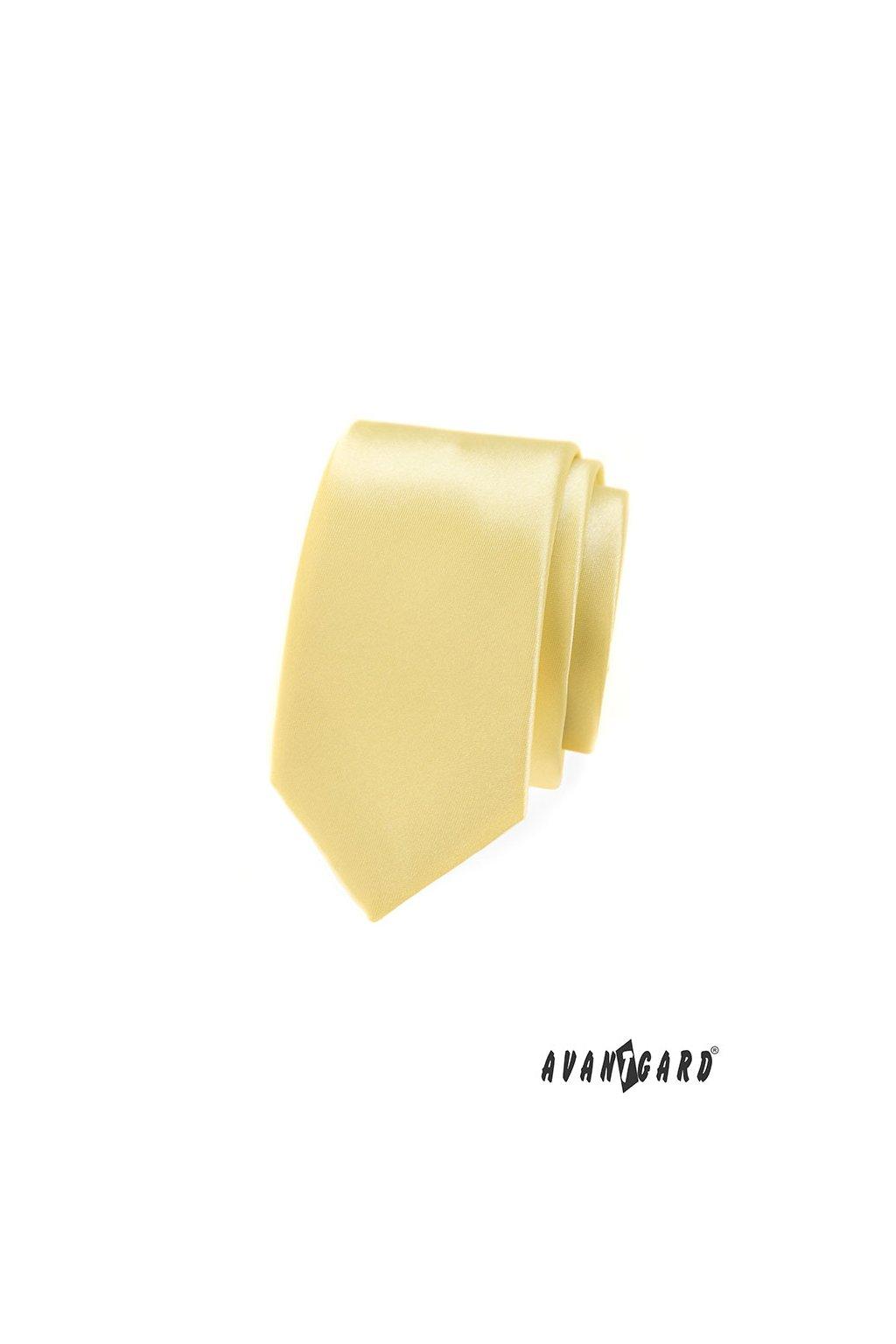 Kravata SLIM LUX žlutá 571 - 9029