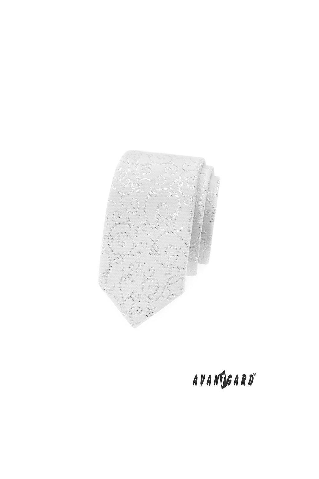 Bílá luxusní úzká kravata 571 - 9350