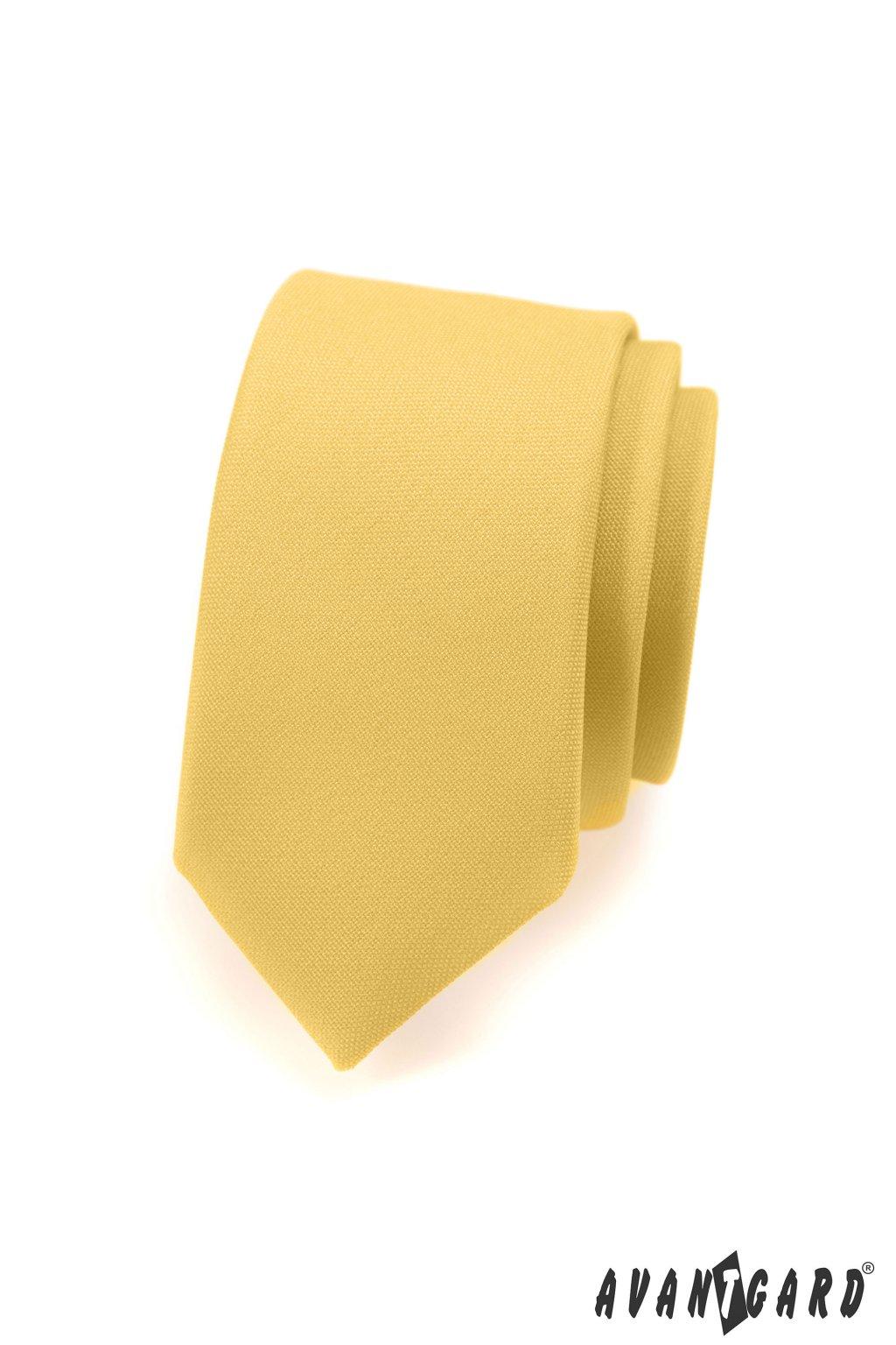Kravata SLIM LUX žlutá 571 - 9826
