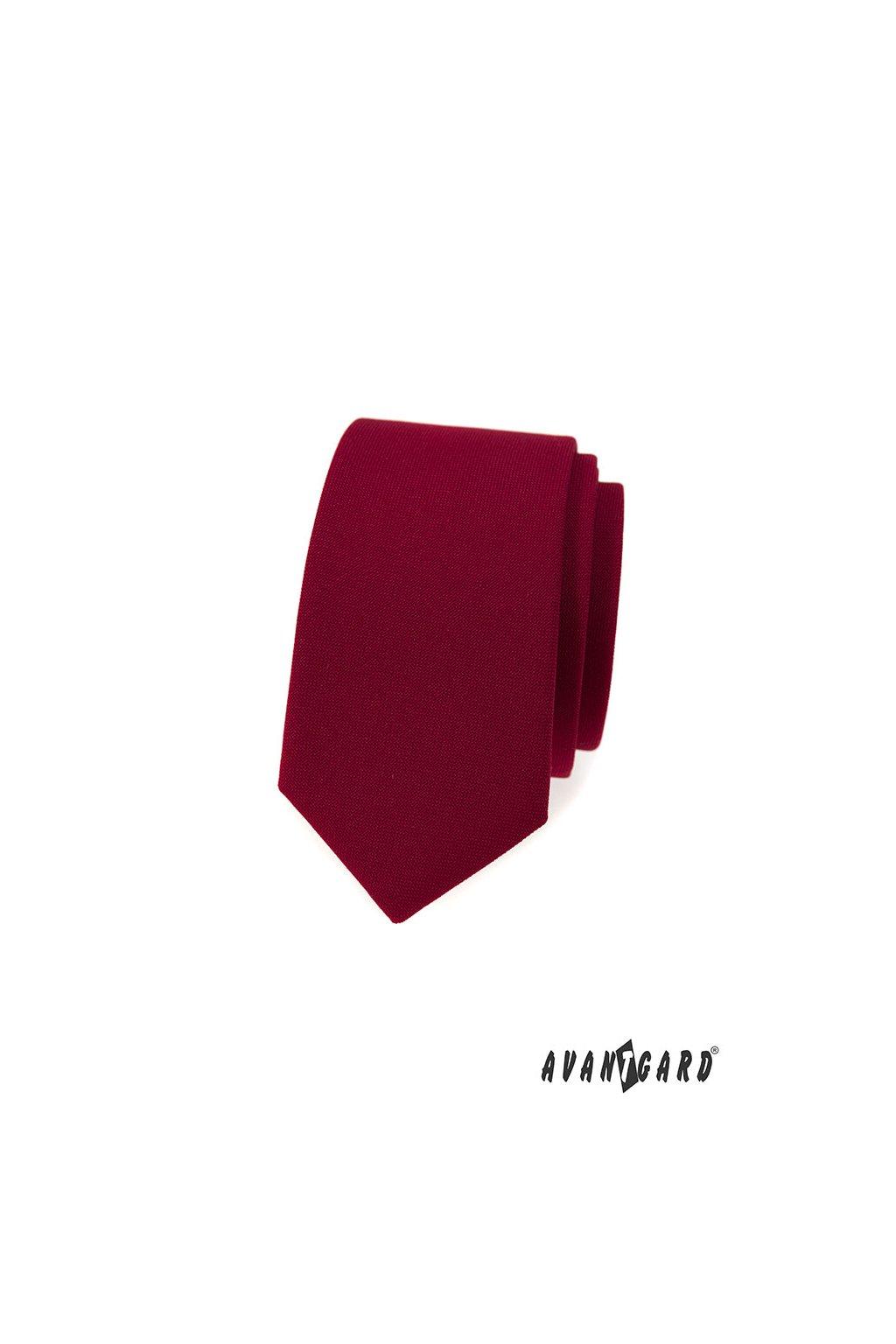 Bordó luxusní úzká kravata 571 - 9853