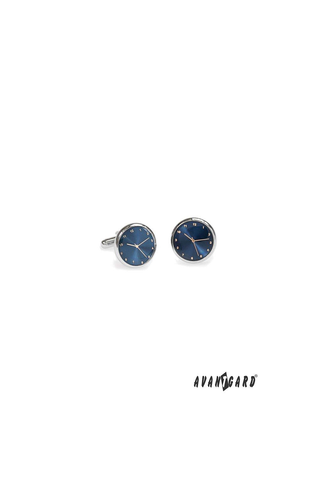 Manžetové knoflíčky CLOCK stříbrná lesk/modrá 573 - 20564