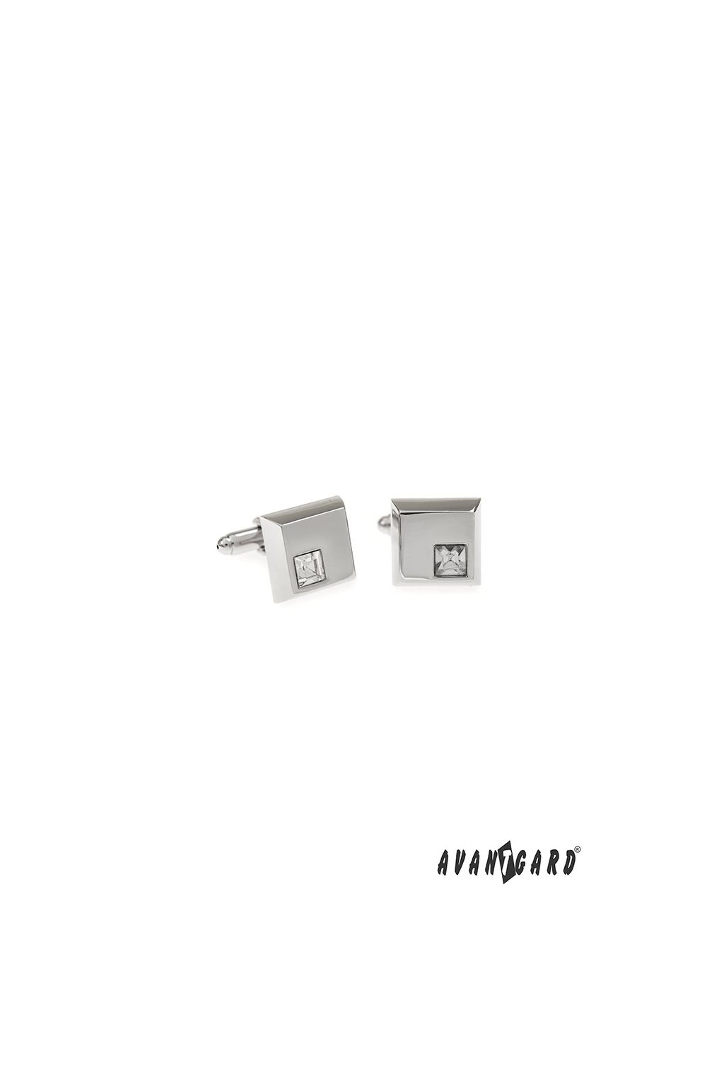 Manžetové knoflíčky PREMIUM stříbrná lesk/bílá 573 - 20633