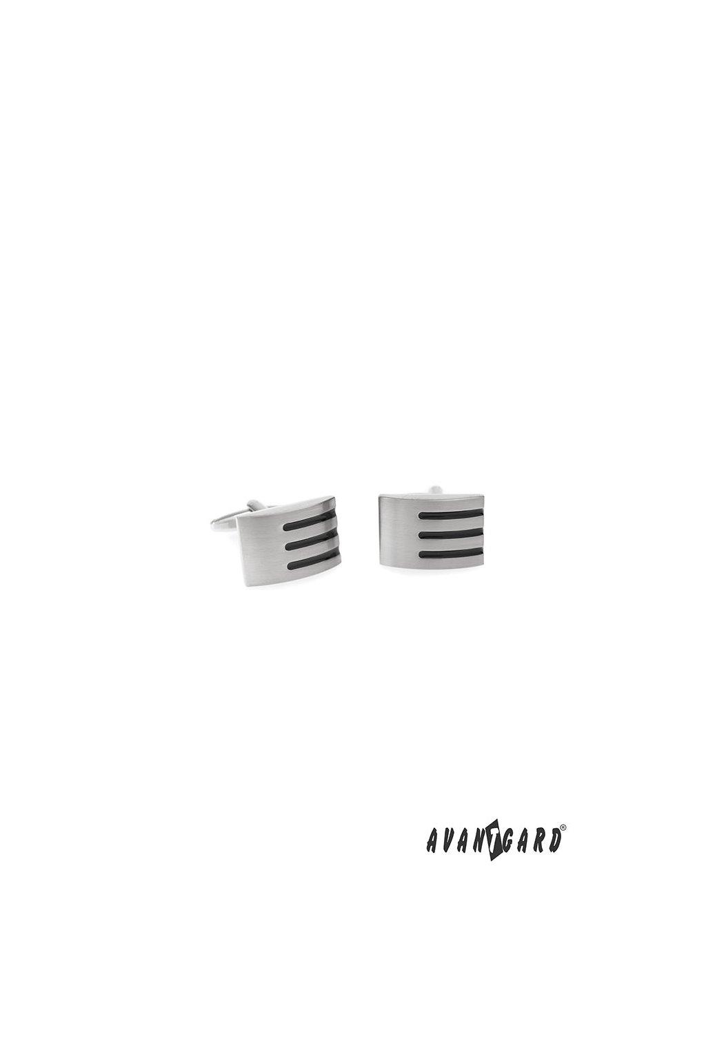 Manžetové knoflíčky PREMIUM stříbrná mat/černá 573 - 20707