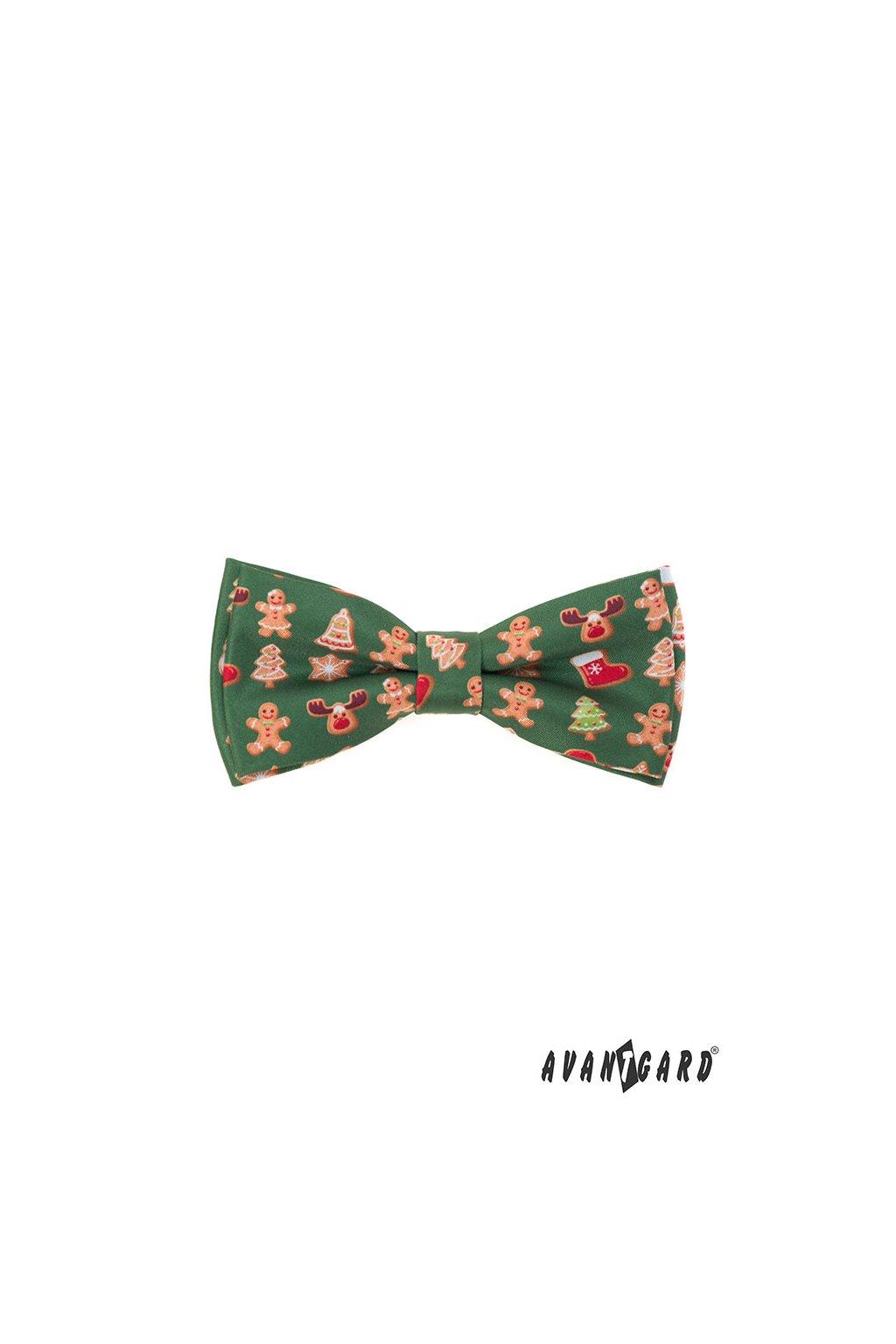Motýlek s kapesníčkem zelená/perníček 575 - 1982