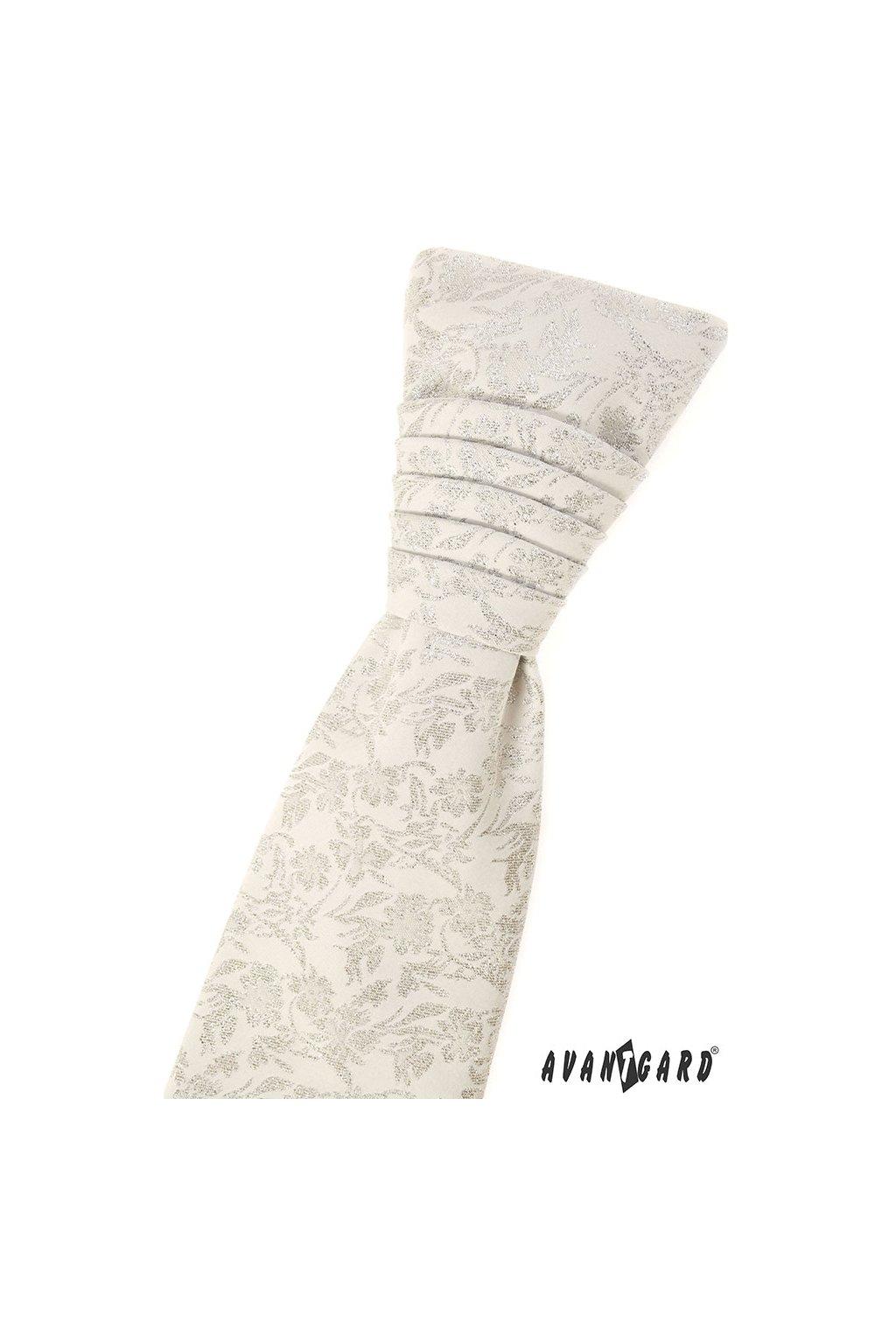 Svatební smetanová regata PREMIUM se slavnostní výšivkou s kapesníčkem 577 - 81180