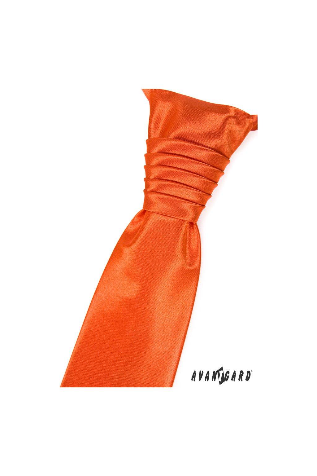 Lesklá pomerančová regata PREMIUM s kapesníčkem 577 - 9025