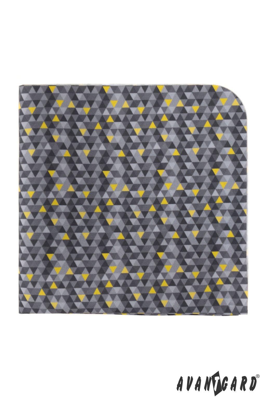 Kapesníček do saka LUX šedá/žlutá, barva roku 2021 583 - 2021