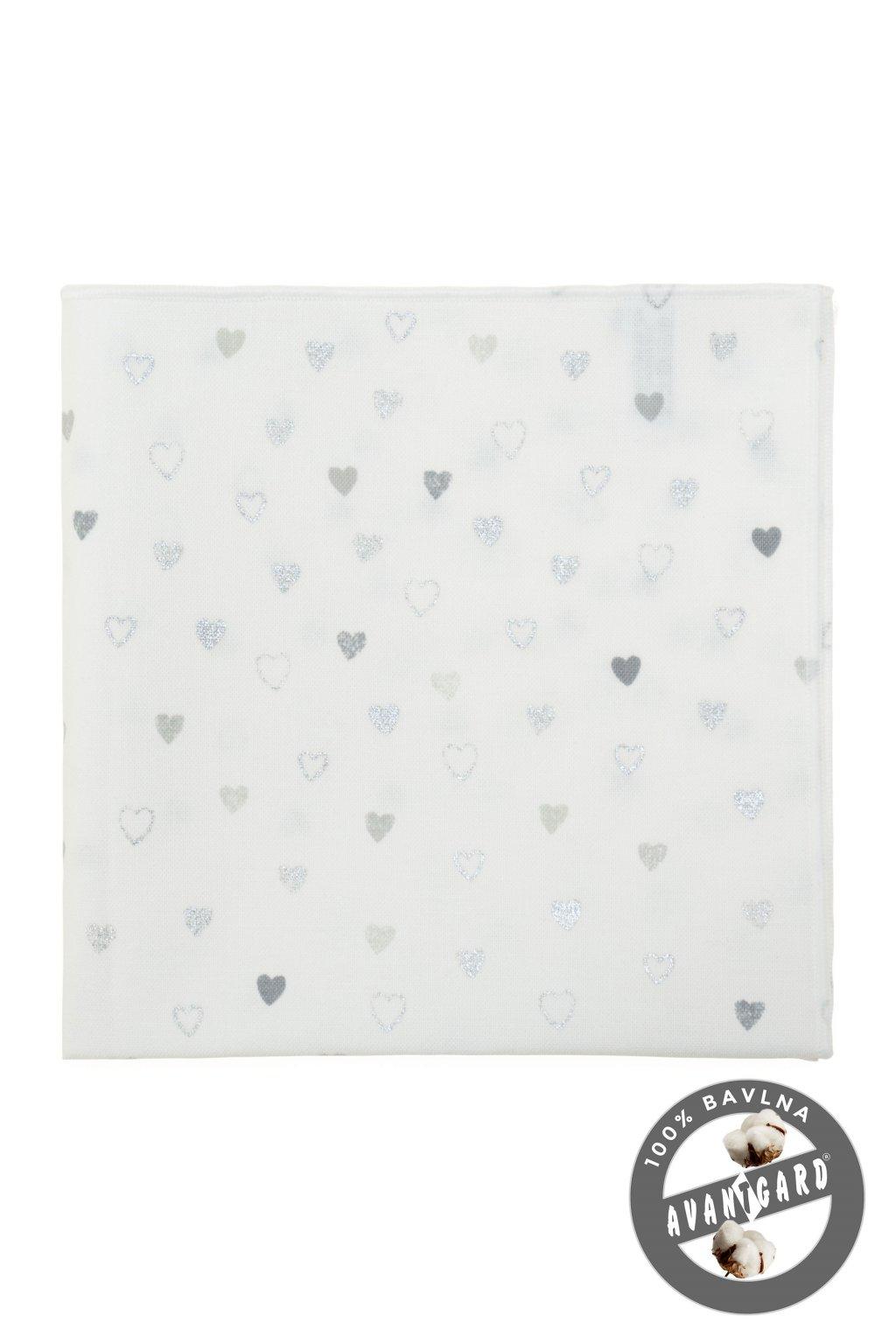 Kapesníček do saka LUX bílá/srdce 583 - 51027