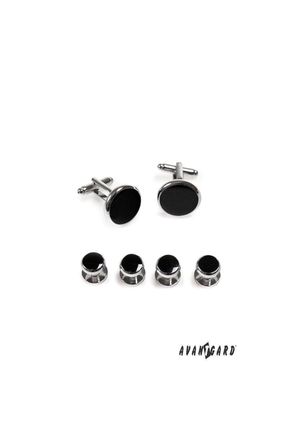 Sada knoflíčků do smokingové košile stříbrná lesk/černá 590 - 20200