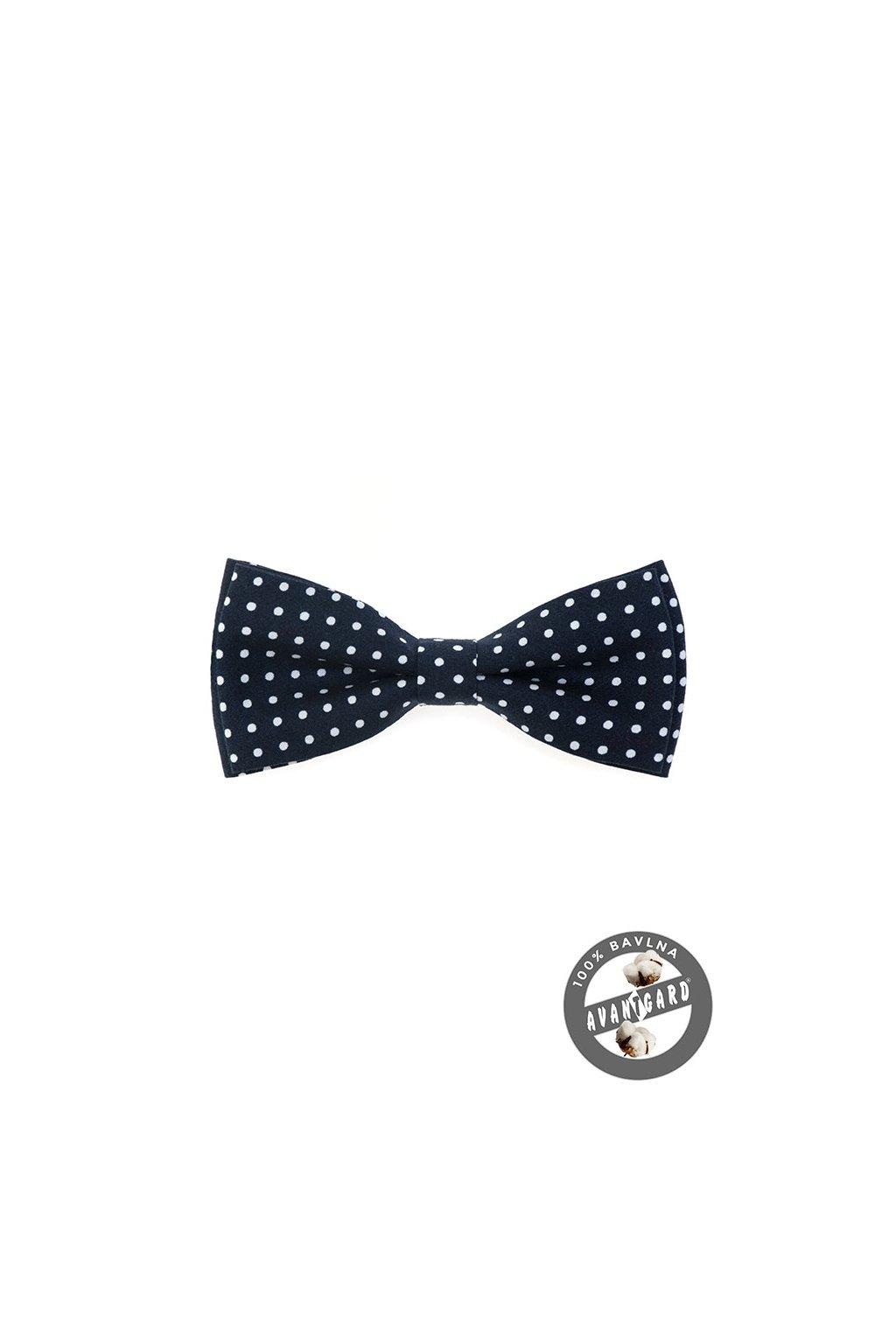 Motýlek PREMIUM bavlněný modrá s bílým puntíkem 600 - 5138