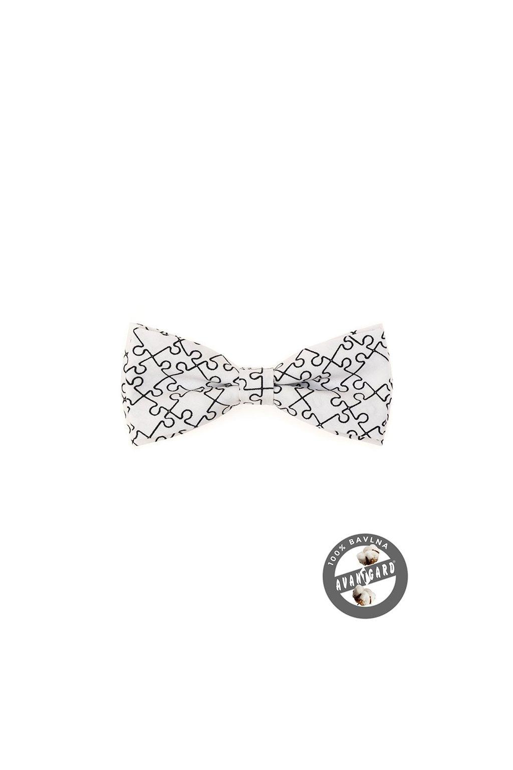Motýlek PREMIUM bavlněný bílá/puzzle 600 - 5160