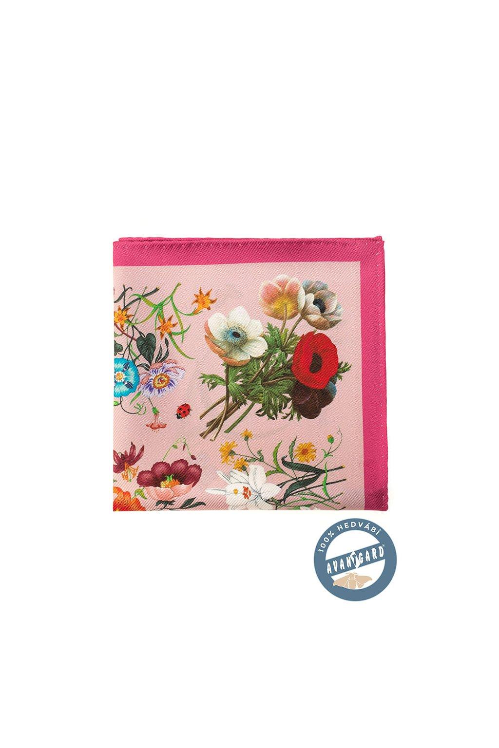 Kapesníček do saka hedvábný PREMIUM růžová 610 - 5645