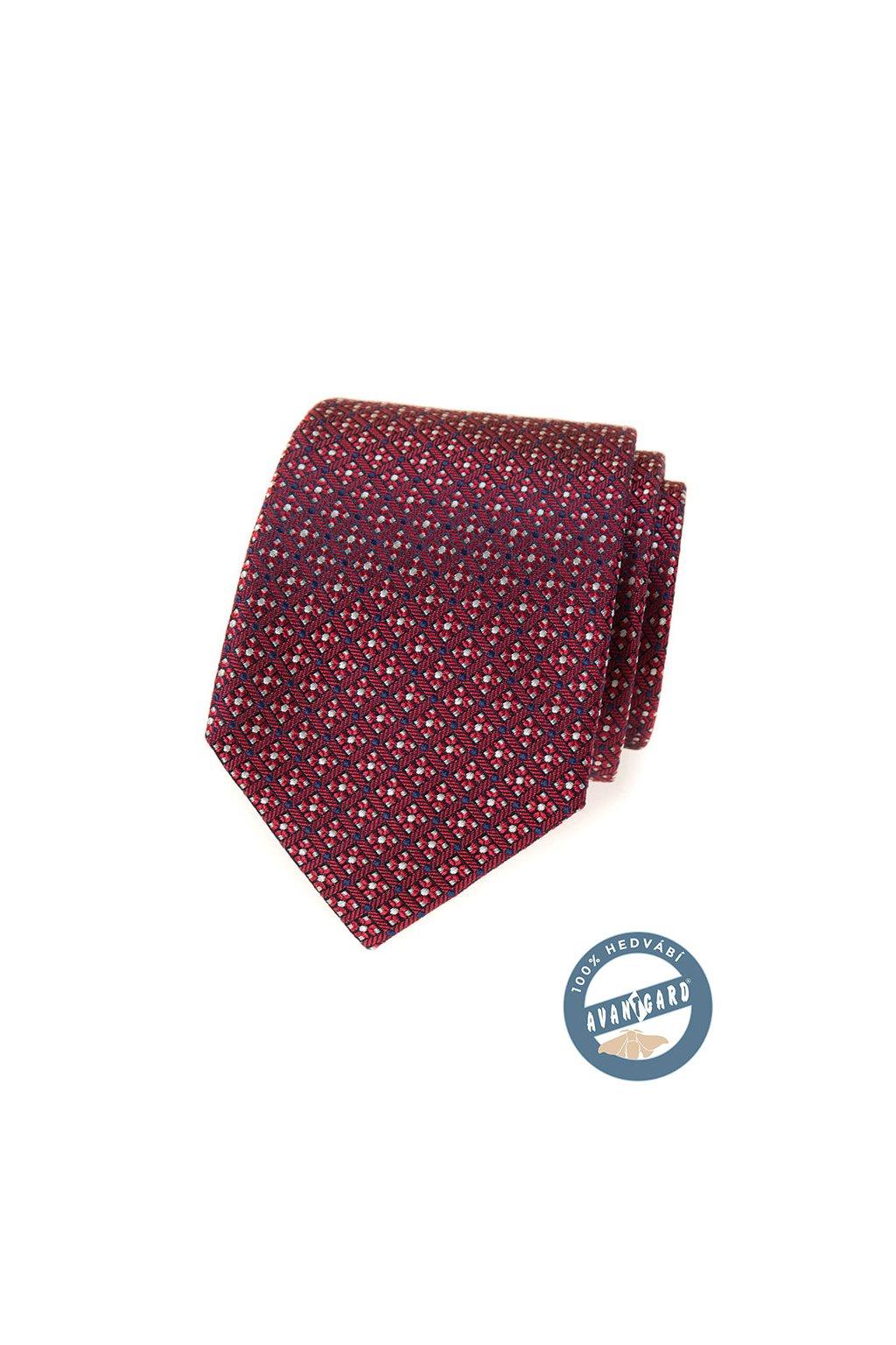 Červená hedvábná kravata se vzorem 621 - 7734