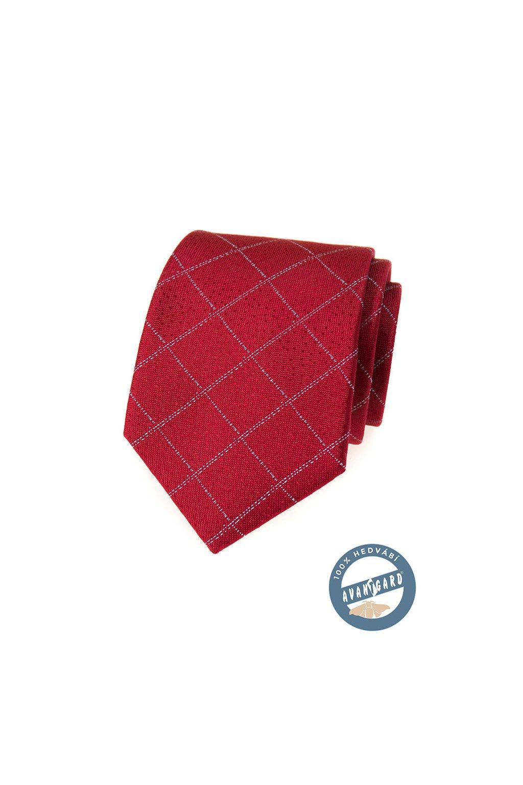 Červená hedvábná kravata s proužkem 621 - 7735