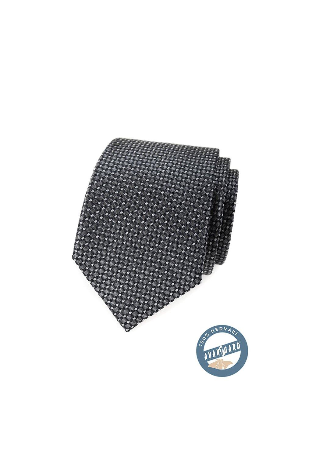 Šedá vroubkovaná hedvábná kravata 621 - 7747