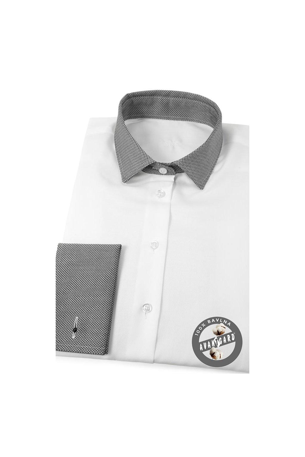 Dámská košile s dvojitými manžetami na manžetové knoflíčky bílá 722 - 0123