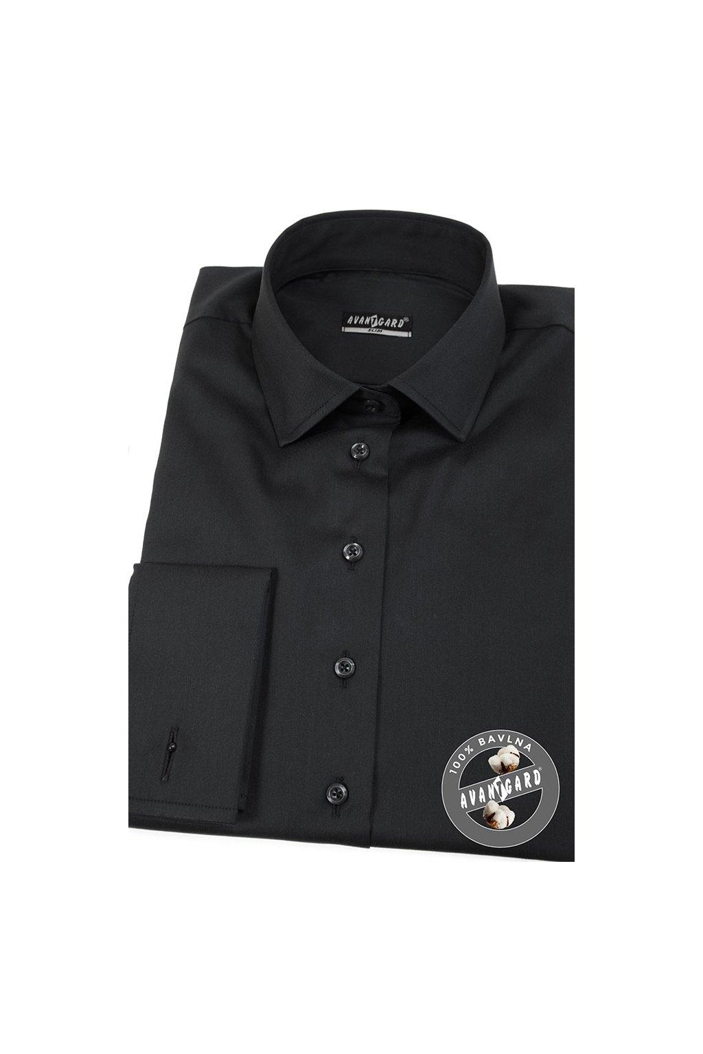 Dámská košile s dvojitými manžetami na manžetové knoflíčky černá 722 - 2323
