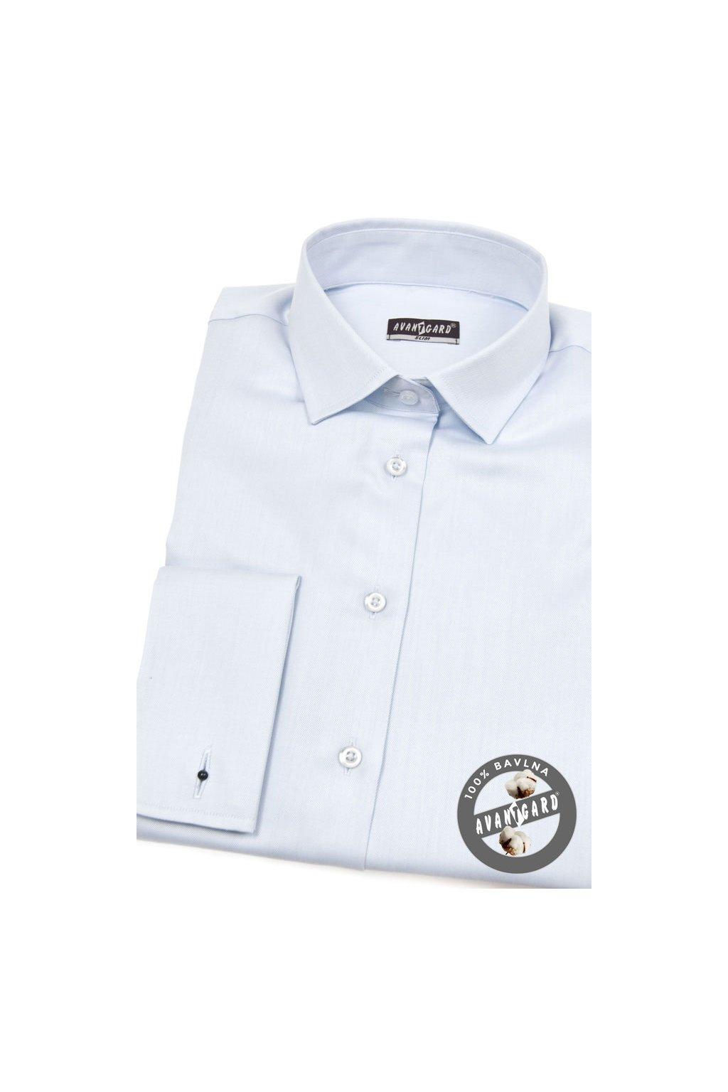 Dámská košile s dvojitými manžetami na manžetové knoflíčky modrá 722 - 4931
