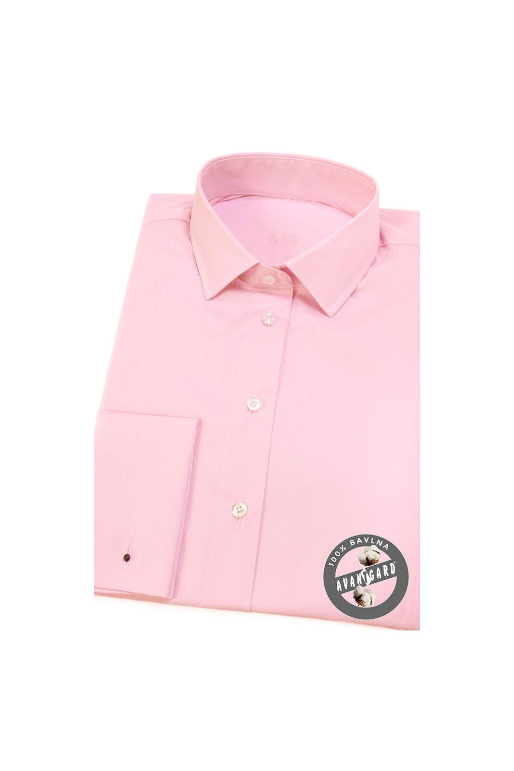 Dámská košile s dvojitými manžetami na manžetové knoflíčky růžová 722 - 9