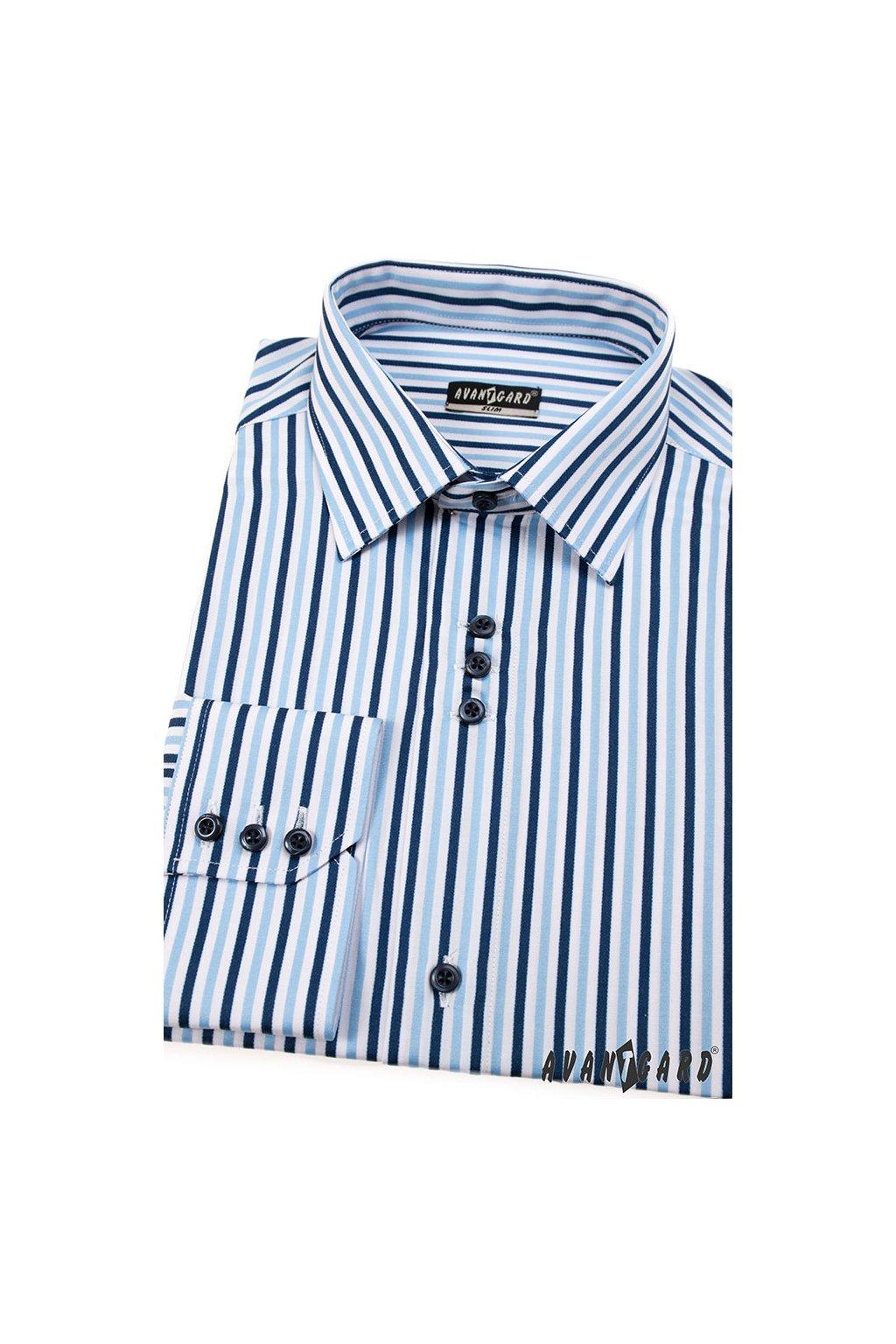 Pánská košile AVANTGARD SLIM dl. ruk. modrá 125 - 6501