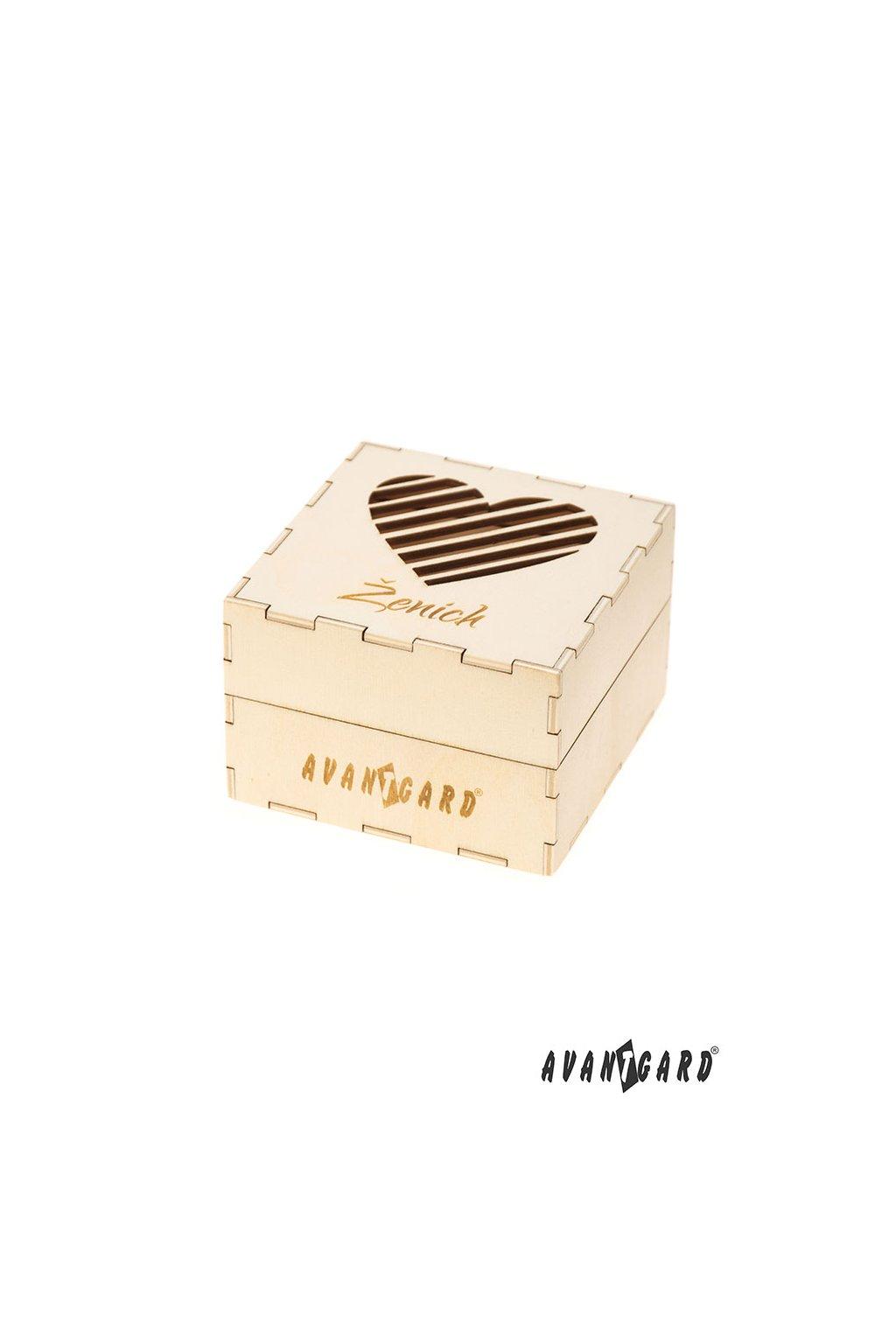 Dřevěná dárková krabička Ženich přírodní dřevo 923 - 3722