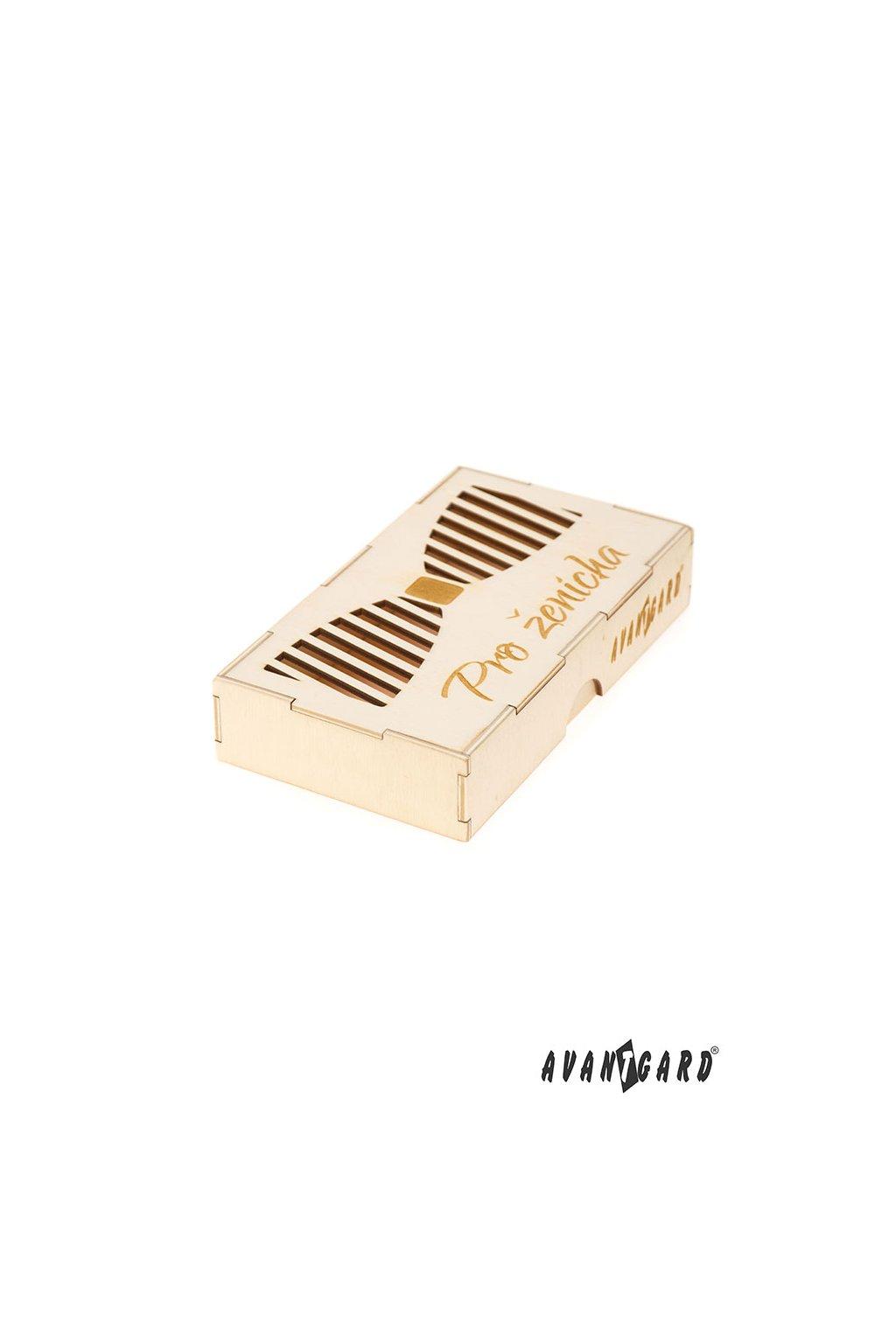 Dřevěná dárková krabička na motýlek Pro ženicha přírodní dřevo 925 - 3716